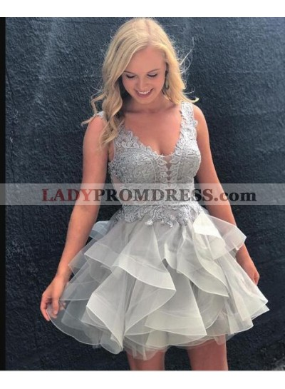 A-Line Scoop Backless Appliques Gray Organza Homecoming Dress 2020