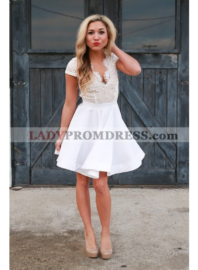 A-Line V-Neck Cap Sleeves Open Back White Homecoming Dress 2020