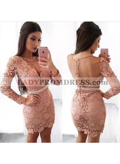 Sheath V-Neck Long Sleeves Blush Lace Homecoming Dress 2021 with Pearls