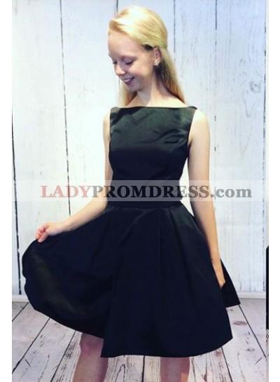 A-Line Bateau Open Back Short Black Homecoming Dress 2021