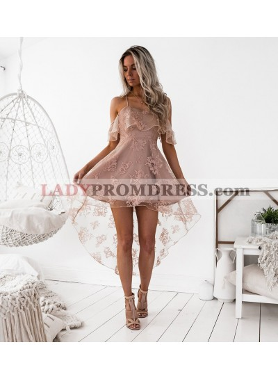 A-Line Spaghetti Straps Hi-Lo Blush Lace Homecoming Dress 2021