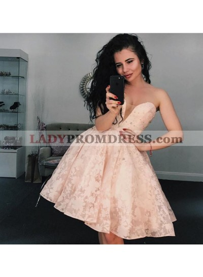 A-Line Sweetheart Pink Lace Homecoming Dress 2021 with Beading
