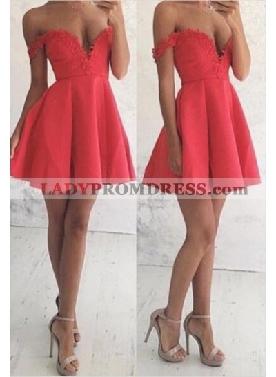 A-Line Off-the-Shoulder Short Satin Red Homecoming Dress 2019 with Appliques