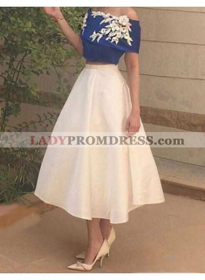 A-Line Off-the-Shoulder Tea-Length White Satin Homecoming Dress 2020 with Appliques