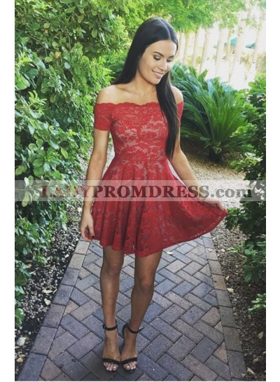 A-Line Off-the-Shoulder Short Sleeves Short Red Lace Homecoming Dress 2021