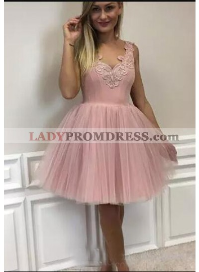 A-Line V-Neck Short Blush Tulle Homecoming Dress 2019 with Appliques