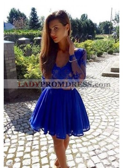 A-Line V-Neck Long Sleeves Appliques Royal Blue Short Homecoming Dress 2019