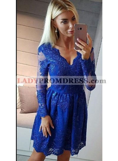 A-Line V-Neck Long Sleeves Royal Blue Homecoming Dress 2020 with Appliques