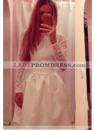 A-Line High Neck Long Sleeves White Homecoming Dress 2021 with Sashes