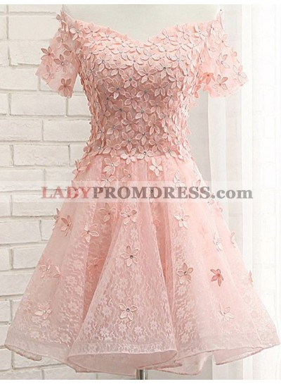 A-Line Off-the-Shoulder Appliques Short Coral Lace Homecoming Dress 2020