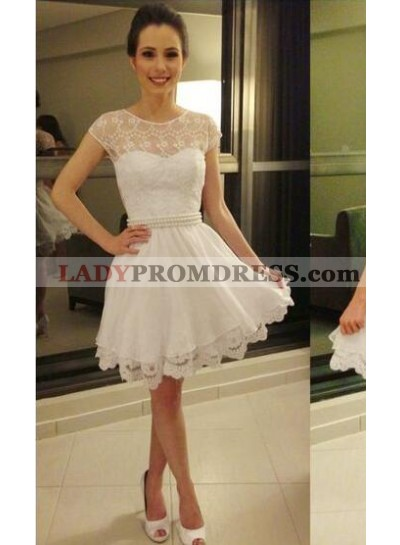 A-Line Jewel Cap Sleeves White Short Homecoming Dress 2019 with Pearl