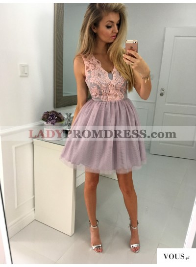 A-Line V-Neck Short Lavender Tulle Homecoming Dress 2021 with Lace