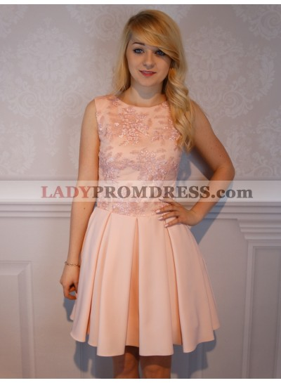 A-Line Jewel Short Pink Satin Homecoming Dress 2021 with Appliques