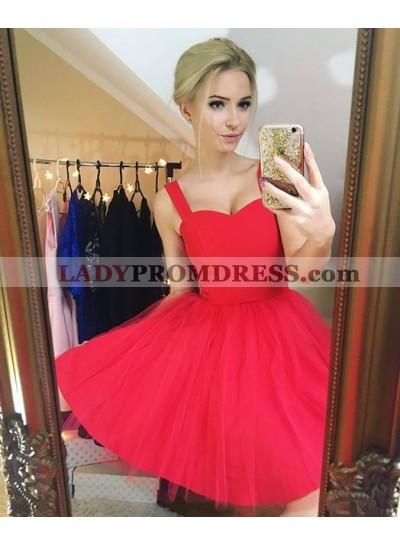 A-Line Straps Sleeveless Short Red Tulle Homecoming Dress 2019