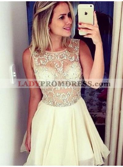 A-Line Round Neck Short Ivory Chiffon Homecoming Dress 2021 with Beading