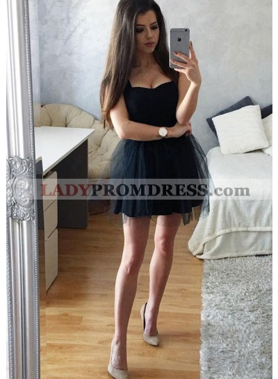 Princess/A-Line Straps Pleats Little Black Tulle Homecoming/Prom Dresses