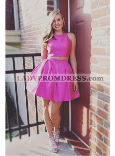 Two Piece Jewel Open Back Short Pink Homecoming Dress 2021 with Ruched