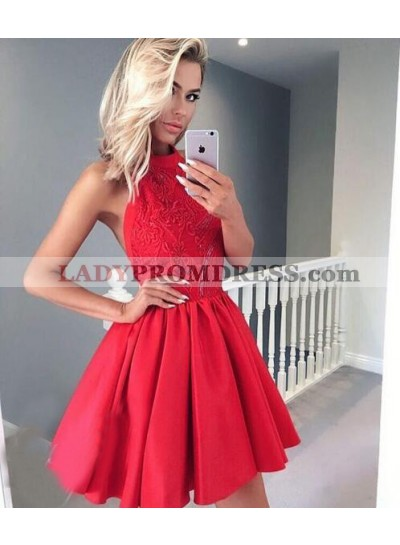 A-Line Jewel Backless Red Homecoming Dress 2020 with Appliques