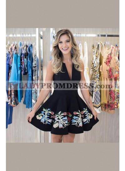 A-Line Deep V-Neck Appliques Short Black Dress