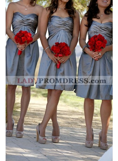 2021 Cheap A Line Taffeta Silver Sweetheart Ruffles Short Bridesmaid Dresses / Gowns