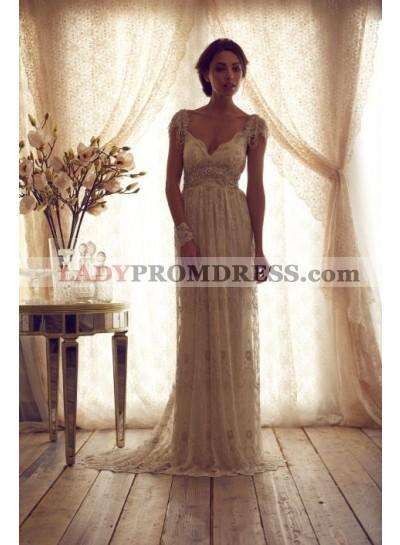 2020 V-neck Backless Floor Length Lace Wedding Dresses