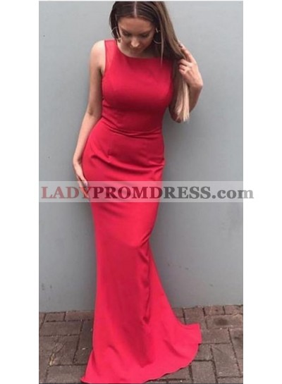 2021 Siren Column/Sheath Red Satin Prom Dresses