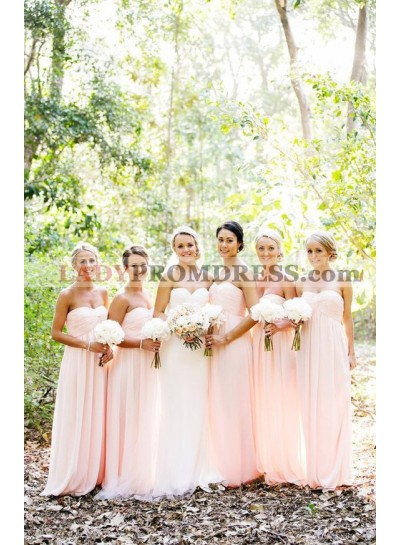 2021 Cheap A Line Chiffon Pink Sweetheart Long Bridesmaid Dresses / Gowns