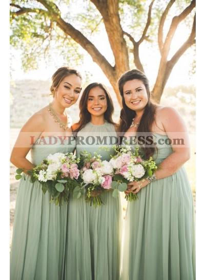 A Line Chiffon Mint Green Floor Length Bridesmaid Dresses