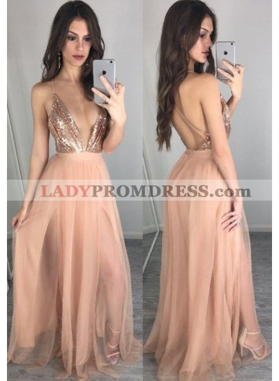 Princess/A-Line Tulle Deep V Sequence Prom Dresses