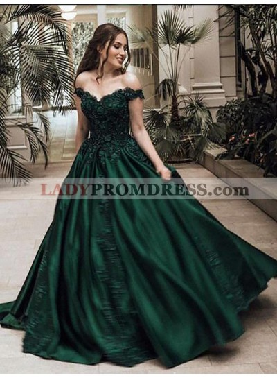 2021 Classic Satin Dark Green Off Shoulder Sweetheart Ball Gown Prom Dress