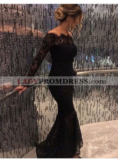2020 Sexy Black Long Sleeves Lace Off The Shoulder Prom Dresses