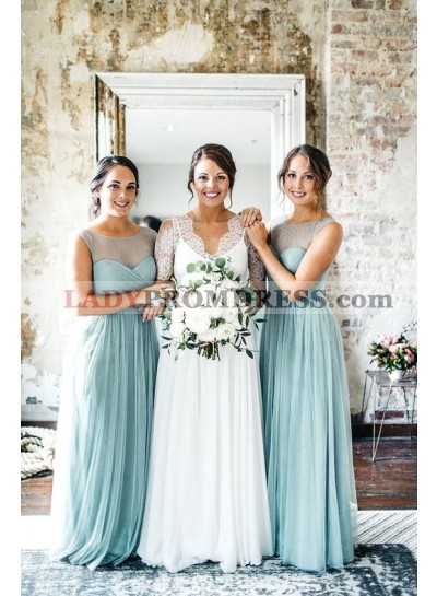 A Line Tulle Blue Sweetheart 2021 Bridesmaid Dresses