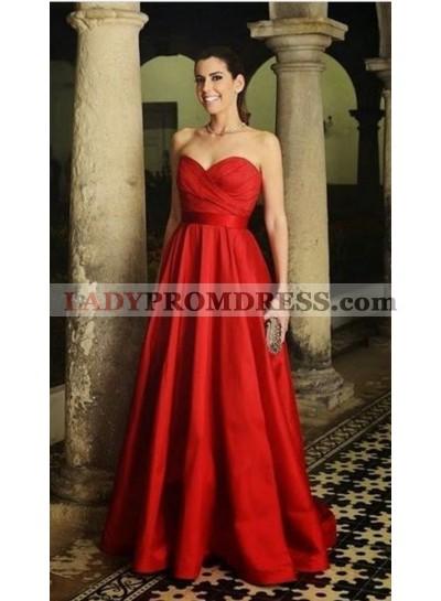 2019 Cheap Red Strapless Satin Princess/A-Line Prom Dresses