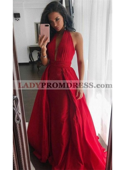 2020 Cheap Princess/A-Line Red Chiffon Halter Prom Dresses