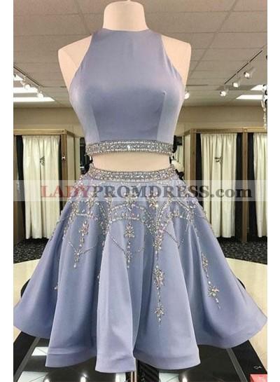 Princess/A-Line Knee Length Two Pieces Satin Prom Dresses