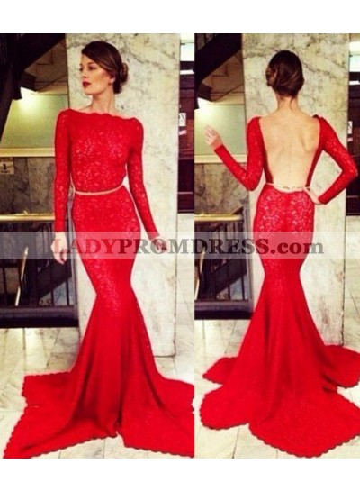 2019 Gorgeous Red Bateau Neck Long Sleeve Mermaid/Trumpet Lace Prom Dresses