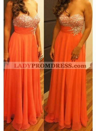 Beading Sweetheart A-Line/Princess Chiffon Orange Prom Dresses