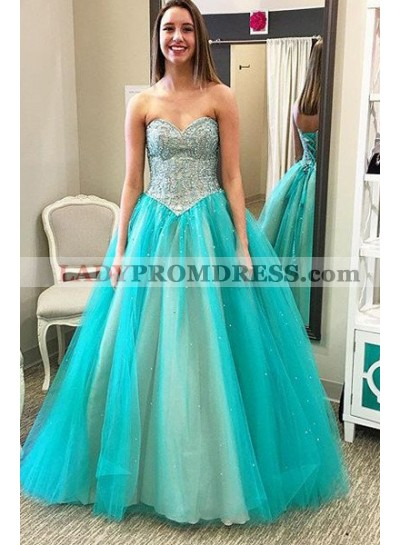 LadyPromDress 2019 Blue Prom Dresses Sweetheart Beading A-Line/Princess Tulle