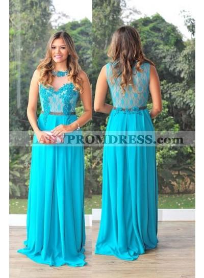 LadyPromDress 2019 Blue Beading Appliques A-Line/Princess Chiffon Prom Dresses