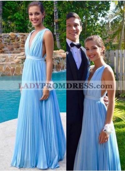LadyPromDress 2019 Blue Floor-Length/Long Straps A-Line/Princess Chiffon Prom Dresses