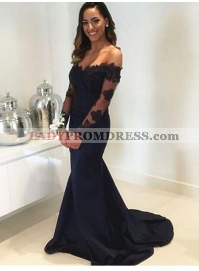 2021 Sexy Back Long Sleeves Satin Mermaid/Trumpet Sweetheart Prom Dresses