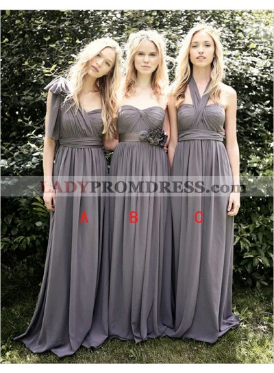 2021 Cheap A Line Light Slate Grey Chiffon One Shoulder Long Bridesmaid Dresses / Gowns