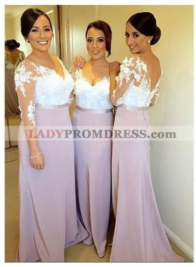 2020 Newly Sheath Lilac Lace Long Sleeves Long Bridesmaid Dresses