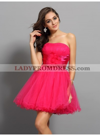 A-Line Princess Sweetheart Sash Sleeveless Short Elastic Woven Satin Homecoming Dresses