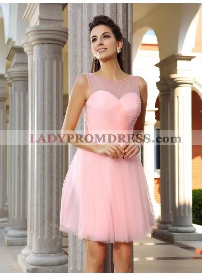 A-Line Princess Scoop Beading Sleeveless Short Satin Homecoming Dresses