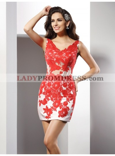 Column Sheath V-neck Applique Sleeveless Short Satin Homecoming Dresses