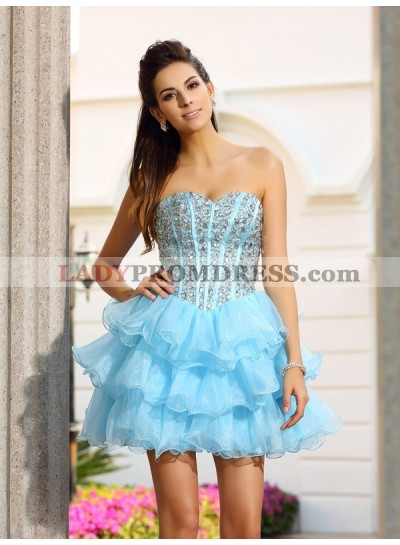 A-Line Princess Sweetheart Beading Sleeveless Short Organza Homecoming Dresses