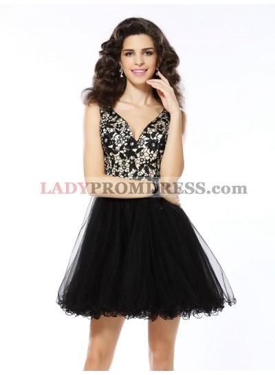 A-Line Princess V-neck Beading Sleeveless Short Elastic Woven Satin Homecoming Dresses