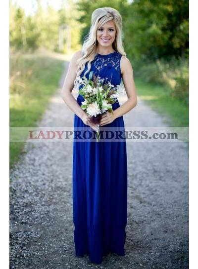 2020 Cheap A Line Royal Blue Lace Long Bridesmaid Dresses / Gowns