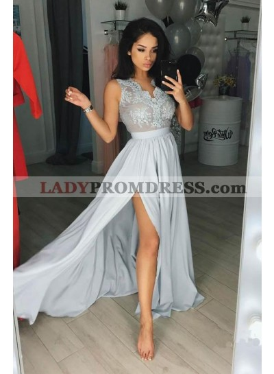 2020 Charming Princess/A-Line Chiffon Light Skye Blue Chiffon Prom Dresses